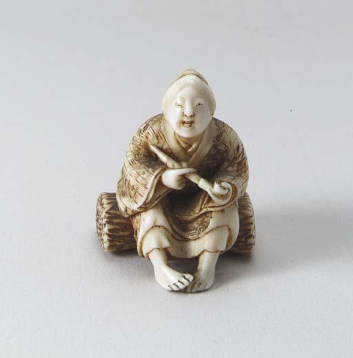Ten Ivory Netsuke and One Wood