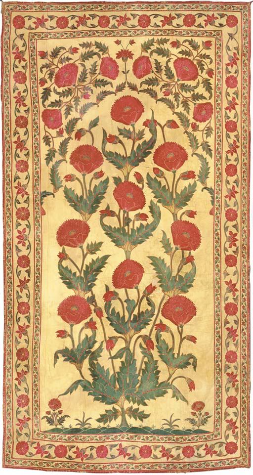 AN EMBROIDERED WALL HANGING,