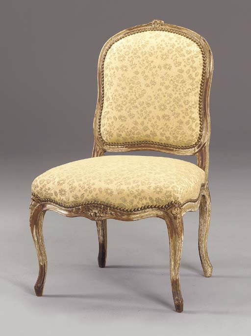 A LOUIS XV STYLE GREY-PAINTED