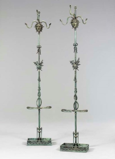 A PAIR OF GREEN-PATINATED BRON