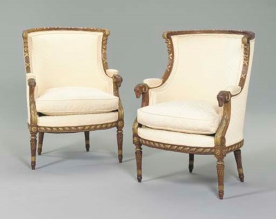 A PAIR OF FRENCH PARCEL-GILT W
