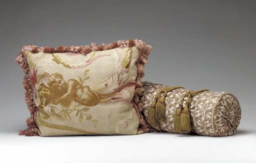 AN AUBUSSON TAPESTRY PILLOW,