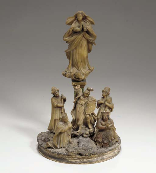 AN ITALIAN CARVED ALABASTER FI