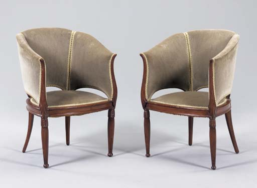 A PAIR OF CARVED MAHOGANY ARMCHAIRS,