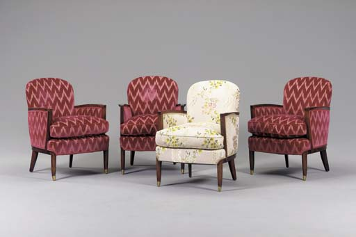 A SET OF FOUR UPHOLSTERED ROSEWOOD ARMCHAIRS,