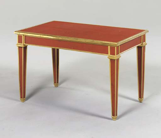 A RED LEATHER AND GILT-BRONZE COFFEE TABLE,