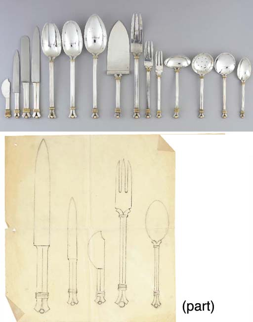 A SILVER AND VERMEIL FLATWARE