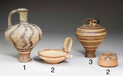 TWO MYCENAEAN POTTERY VESSELS