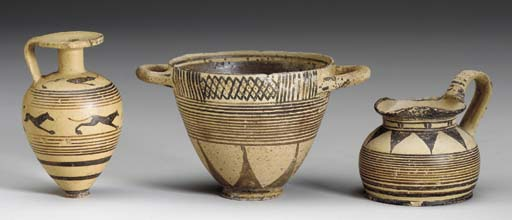 THREE PROTOCORINTHIAN POTTERY