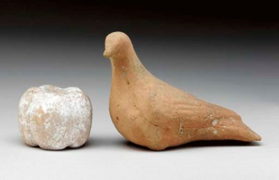 A GREEK TERRACOTTA DOVE and PO