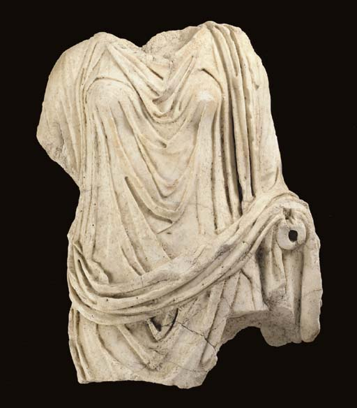 A LARGE ROMAN MARBLE DRAPED WO