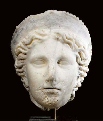A ROMAN MARBLE HEAD OF A GODDE