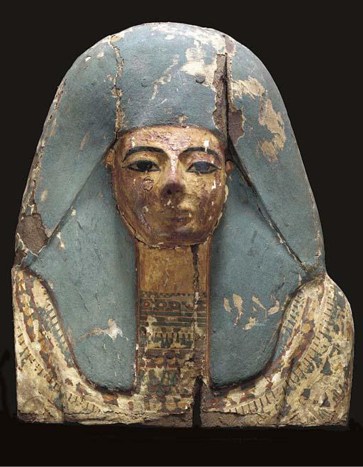 AN EGYPTIAN PAINTED WOOD COFFI