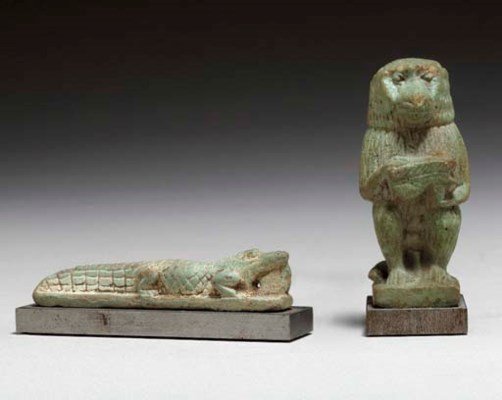 TWO EGYPTIAN FAIENCE AMULETS