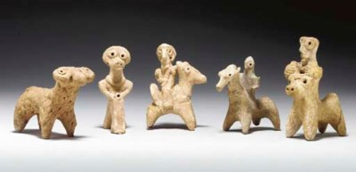 FIVE SYRIAN TERRACOTTA FIGURES