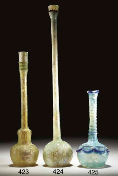 A BYZANTINE GLASS BOTTLE