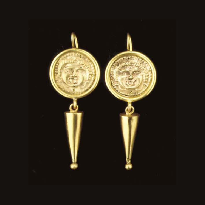 A PAIR OF GREEK GOLD APPLIQUÉS