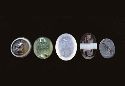 FIVE ROMAN RING STONES