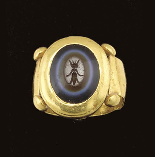 A ROMAN GOLD AND SARDONYX FING