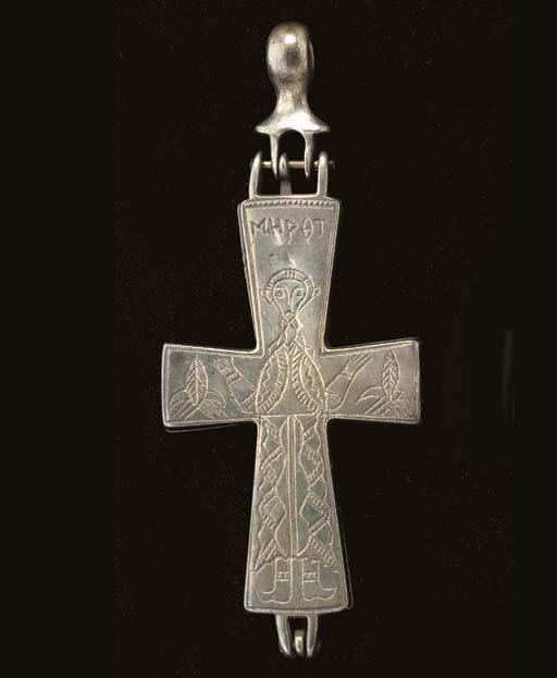 A BYZANTINE SILVER RELIQUARY C