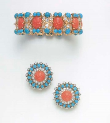 **A SET OF CORAL, DIAMOND AND