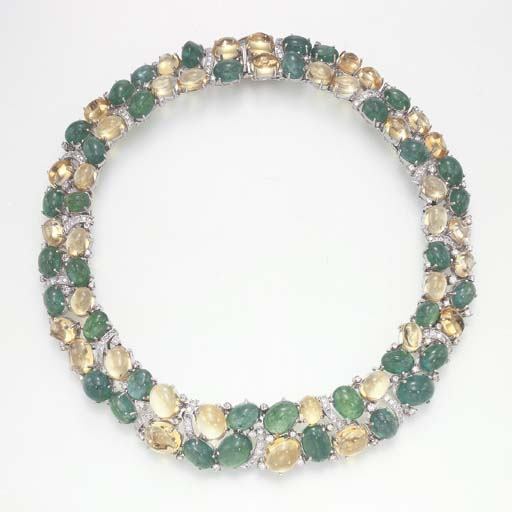 AN EMERALD AND CITRINE NECKLAC