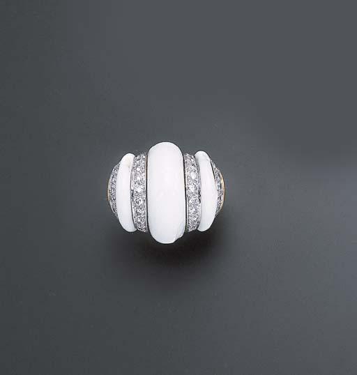 A WHITE ENAMEL AND DIAMOND RIN