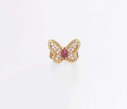 A DIAMOND AND RUBY BUTTERFLY R
