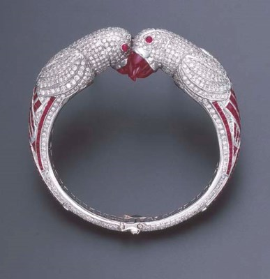 A RUBY AND DIAMOND BANGLE BRAC