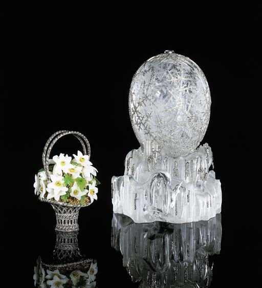 A highly important Fabergé imperial easter egg with original surprise given by Tsar Nicholas II to his mother, the dowager Empress Maria Feodorovna at Easter 1913. Sold for $9,579,500 on 19 April 2002 at Christie's in New York