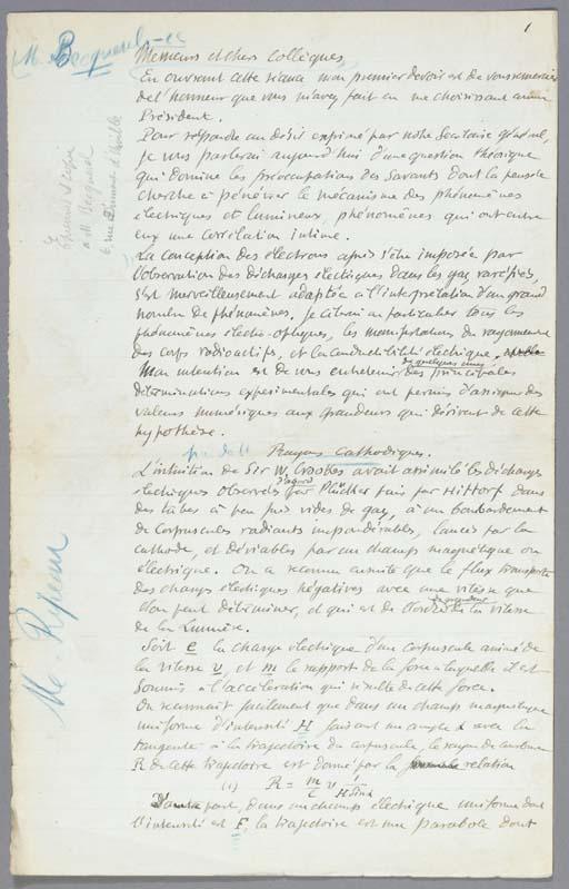 BECQUEREL, Henri. Autograph ma