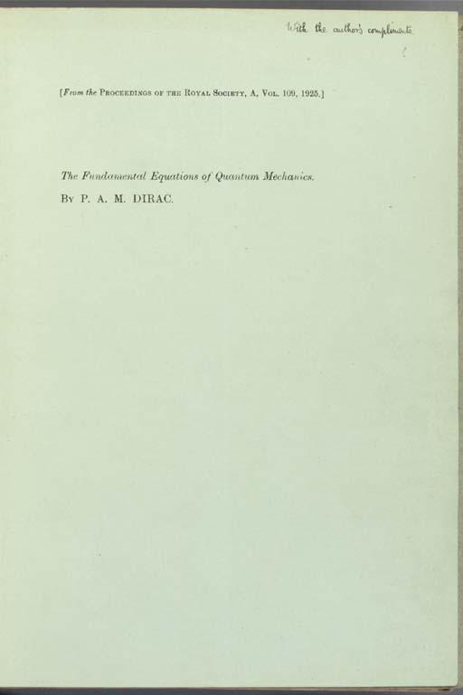 DIRAC, Paul (1902-84). The fun