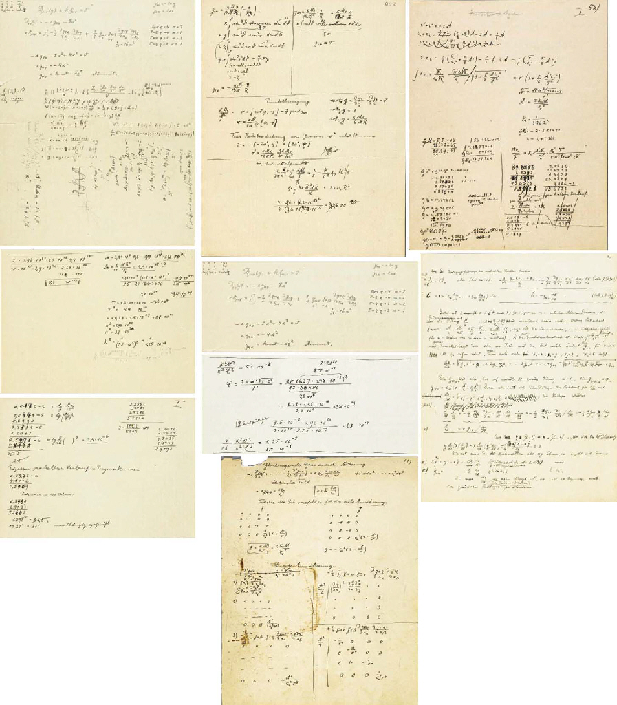"EINSTEIN, Albert and Michele BESSO. Autograph manuscript, comprising a series of calculations using the early version (""Entwurf"") of the field equations of Einstein's general theory of relativity, the aim of which was to test whether the theory could account for the well-known anomaly in the motion of the perihelion of Mercury. 26 pages in Einstein's hand; 25 pages in Besso's; 3 pages with entries of both collaborators (many pages with contributions of one to entries of the other). No place, [Berlin and Zurich], n.d. [mostly June 1913; additions from early 1914]. Published in Einstein, Collected Papers, 4:344-359 (introduction), 4:360-473 (transcription, with notes), and 4:630-682 (facsimile)."
