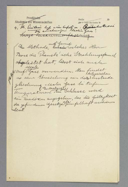 EINSTEIN, Albert. Autograph ma