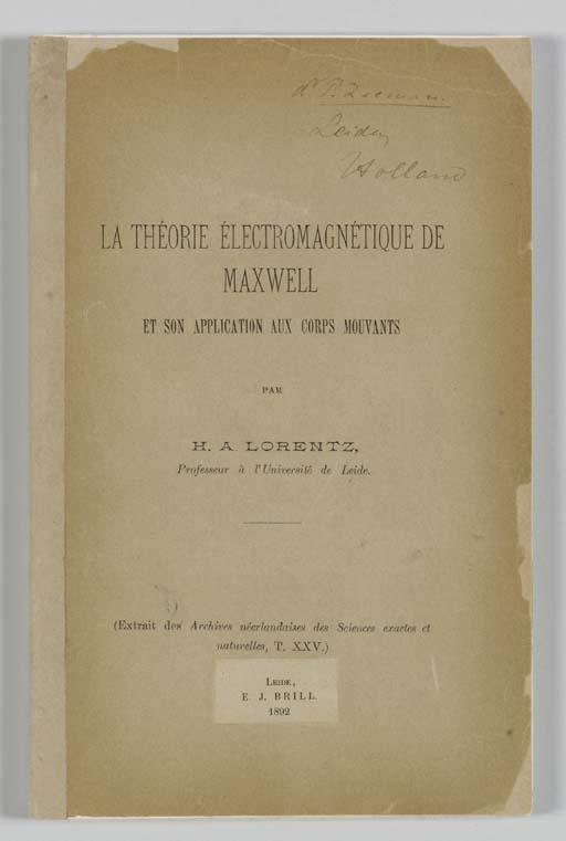 LORENTZ, Hendrik Antoon. La th