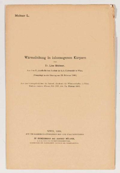 MEITNER, Lise (1878-1968). Wär
