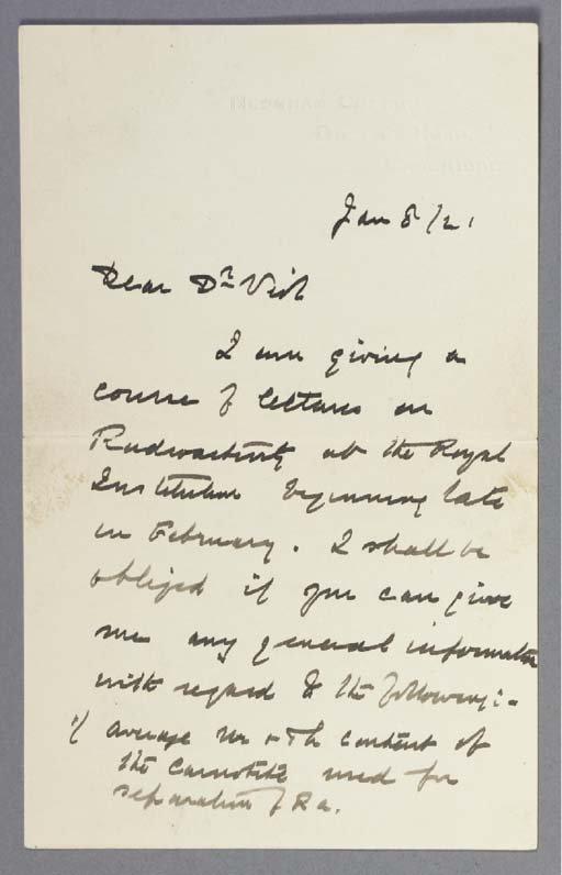 RUTHERFORD, Ernest. Autograph