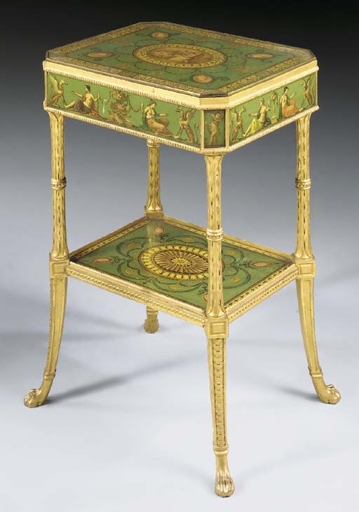 A VICTORIAN GREEN AND POLYCHRO
