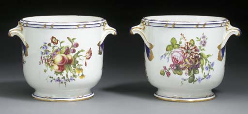 TWO SEVRES BOTTLE COOLERS (SEA