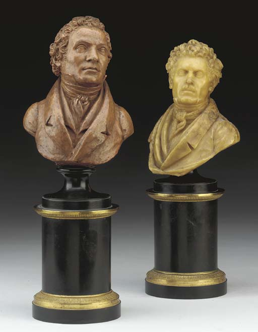 TWO FRENCH WAX BUSTS OF GENTLE