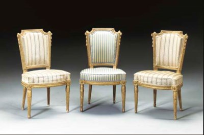 A SET OF THREE LOUIS XVI GILTW