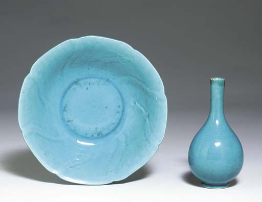 TWO TURQUOISE-GLAZED VESSELS