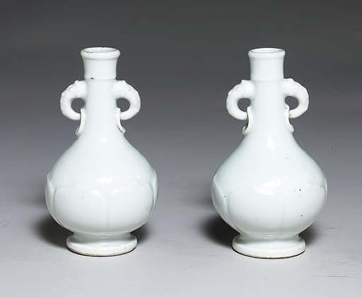 A PAIR OF SMALL BLANC-DE-CHINE