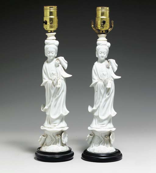A PAIR OF BLANC-DE-CHINE FIGUR