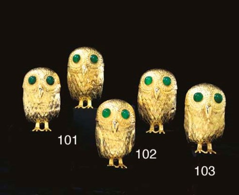 A PAIR OF CONTINENTAL GOLD OWL