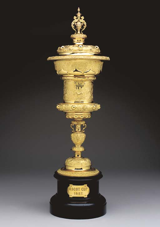 A VICTORIAN GOLD ASCOT CUP AND