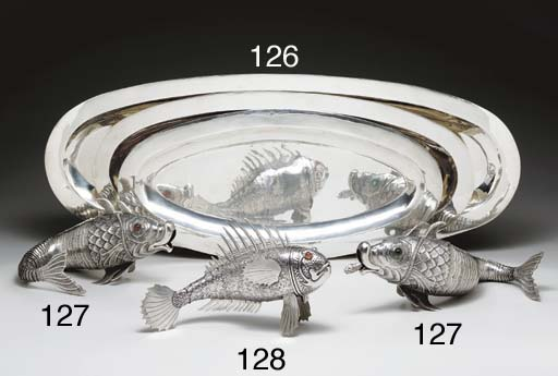 A PAIR OF SILVER FISH-FORM TAB