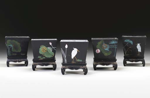 A SET OF FIVE BLACK-PAINTED AN