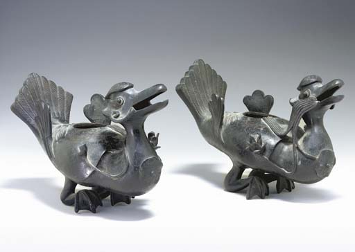 A PAIR OF BRONZE DUCK-FORM INC
