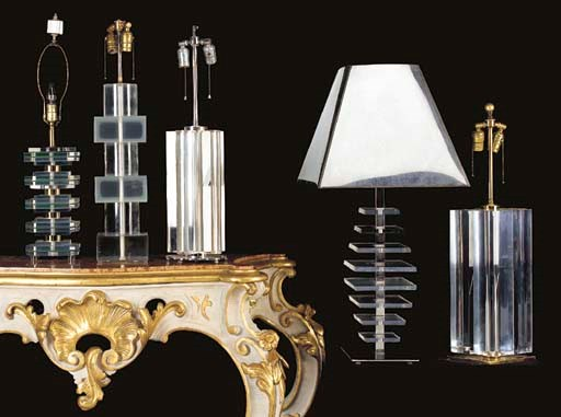 A GROUP OF FIVE ACRYLIC LAMPS